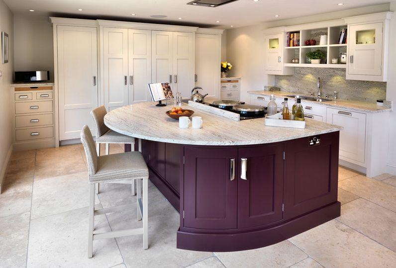 Stategic pop of aubergine for kitchen