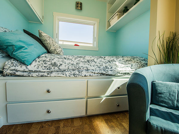 tiny house bedroom. Steel tiny house in wheels bed drawers Live a Big Life Tiny House on Wheels