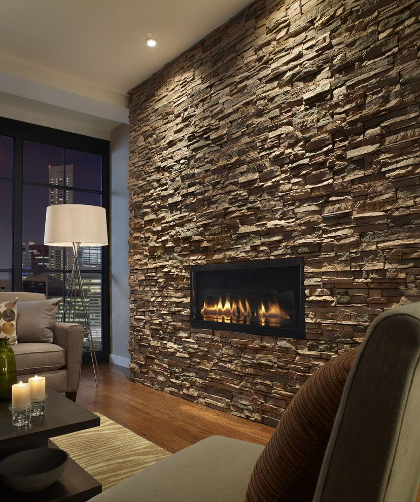 Stone fireplace wall.