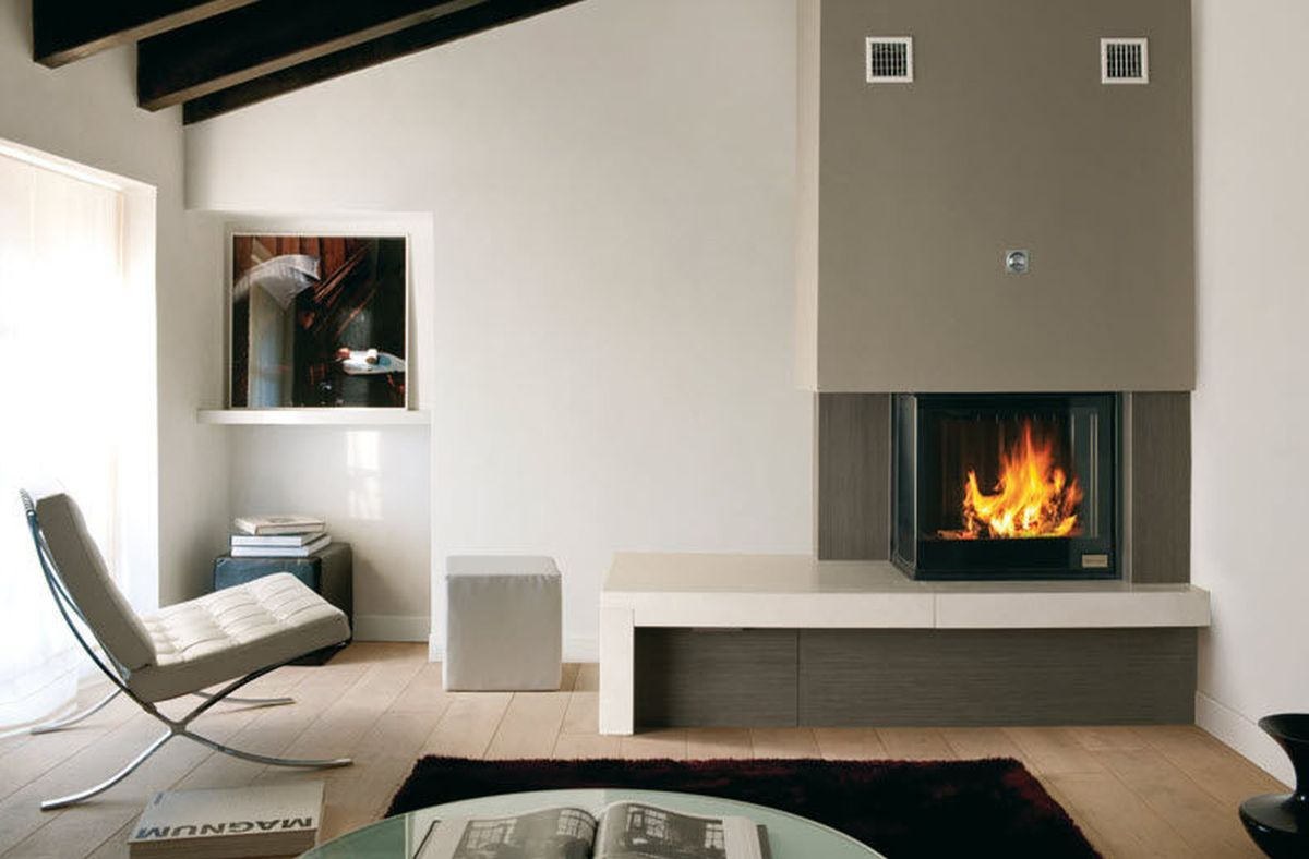 Stunning Corner Fireplace Design View In Gallery Modern Living Room