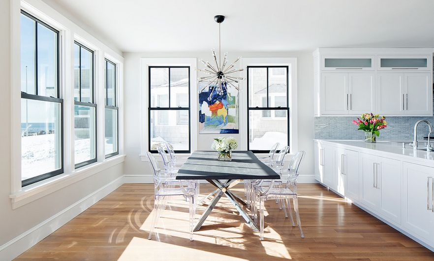 Sunburst Lighting Syste Over The Dining Table View In Gallery Ghost Chairs