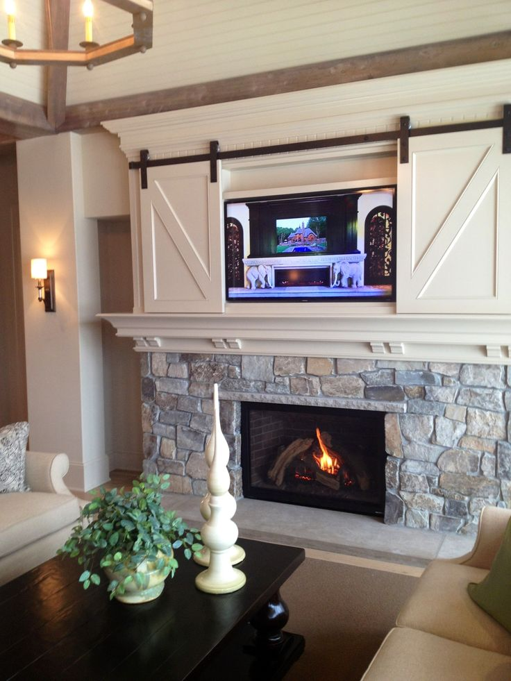 Ordinaire TV Above The Fireplace With Miniature Small Barn Doors