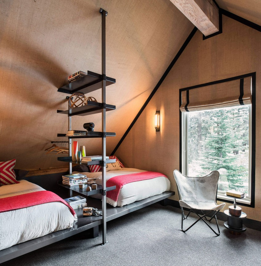 Tahoe ski retreat burlap bedroom