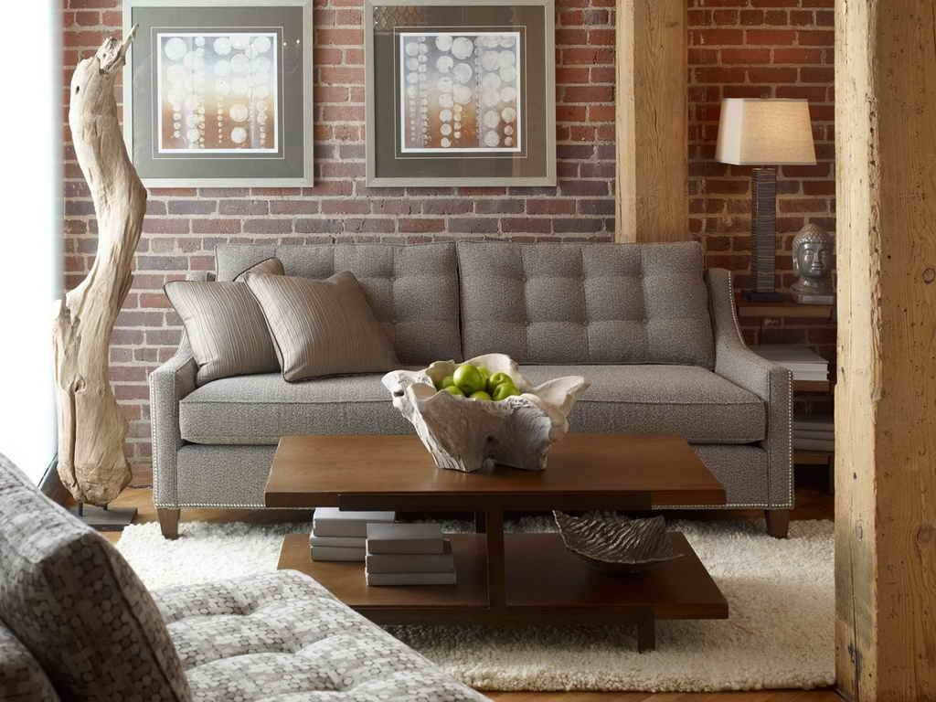 Taupe Brown Living With Exposed Bricks