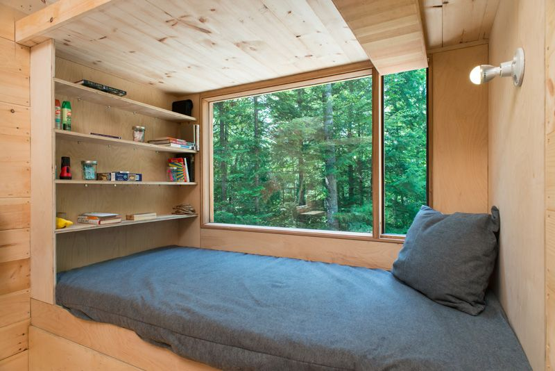 Test driving tiny house living bed view