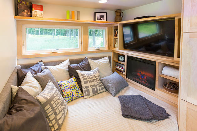 Tiny Home On A Trailer Tv and fireplace