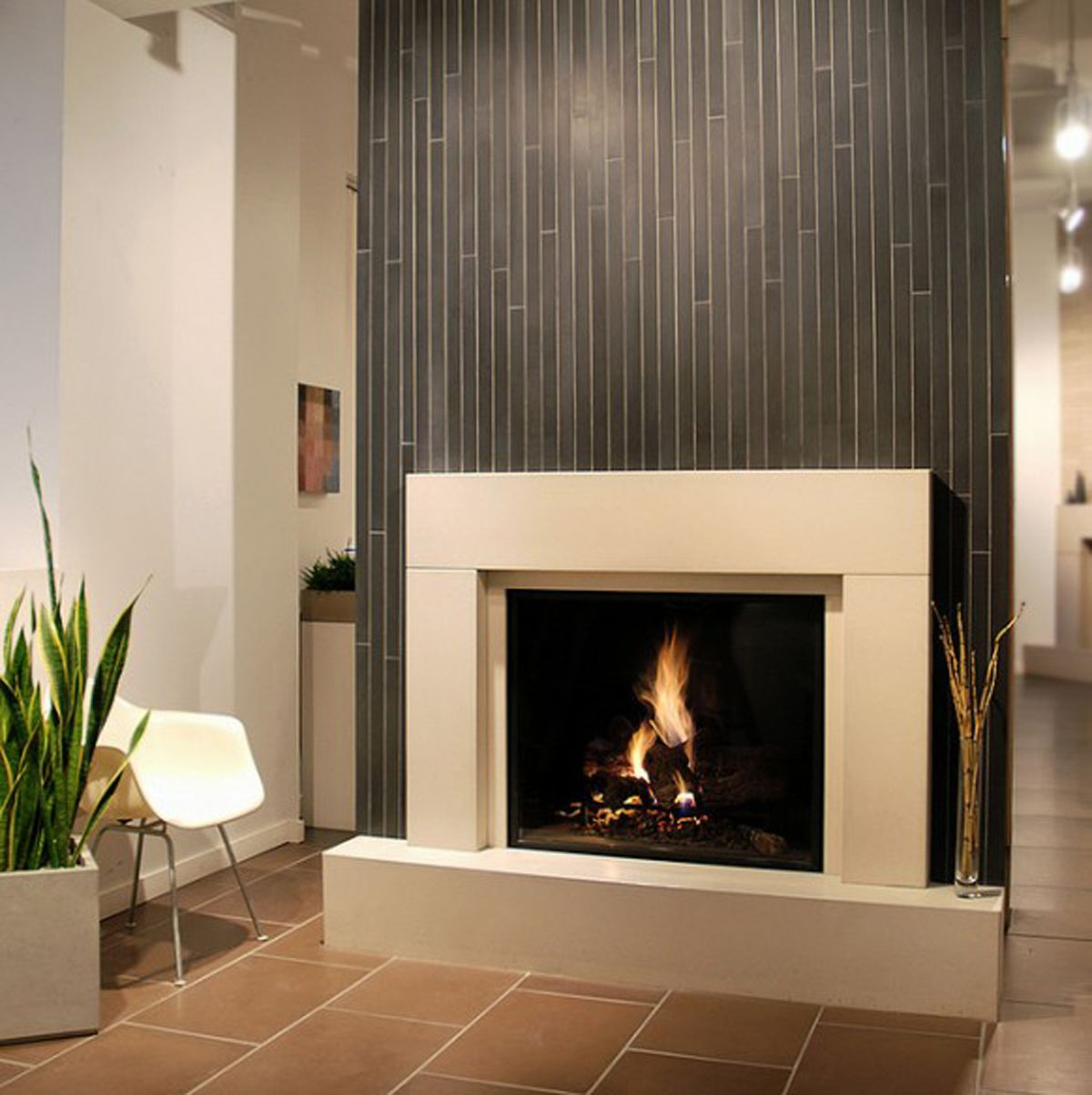 vertical tile for fireplace - Modern Fireplace Design Ideas
