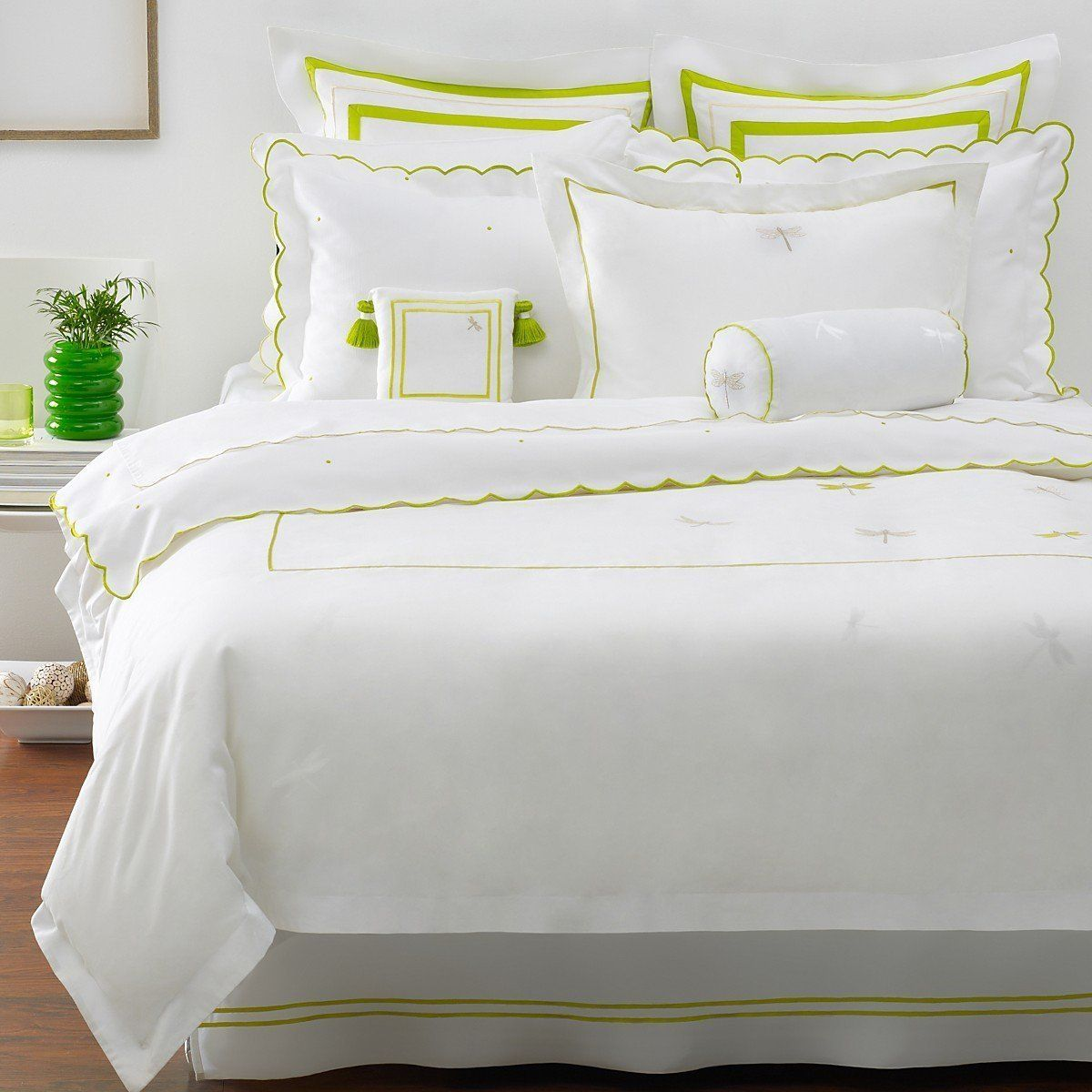 White bedding with chartreuse accents