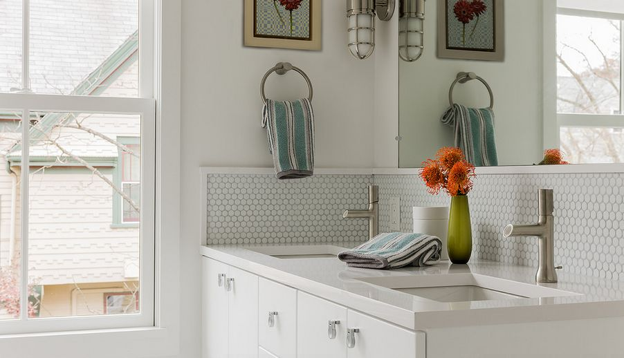 White Penny Tiles For Bathroom Backsplash