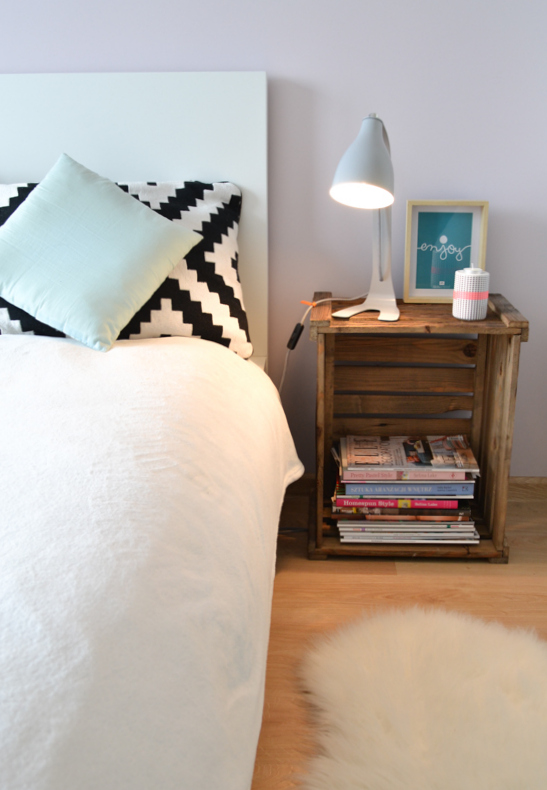 Wooden crate turned into a night stand