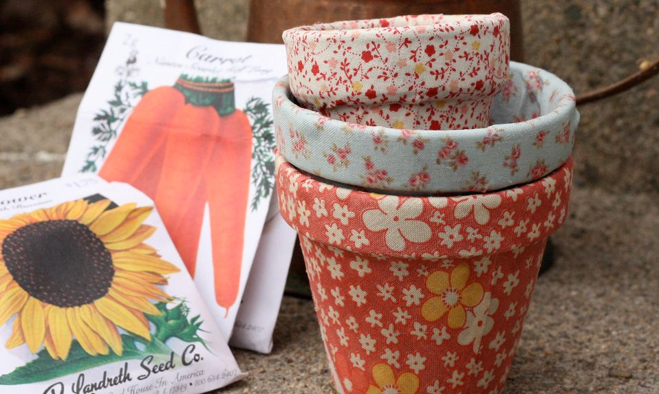 Wrapp the terracotta pots with fabric