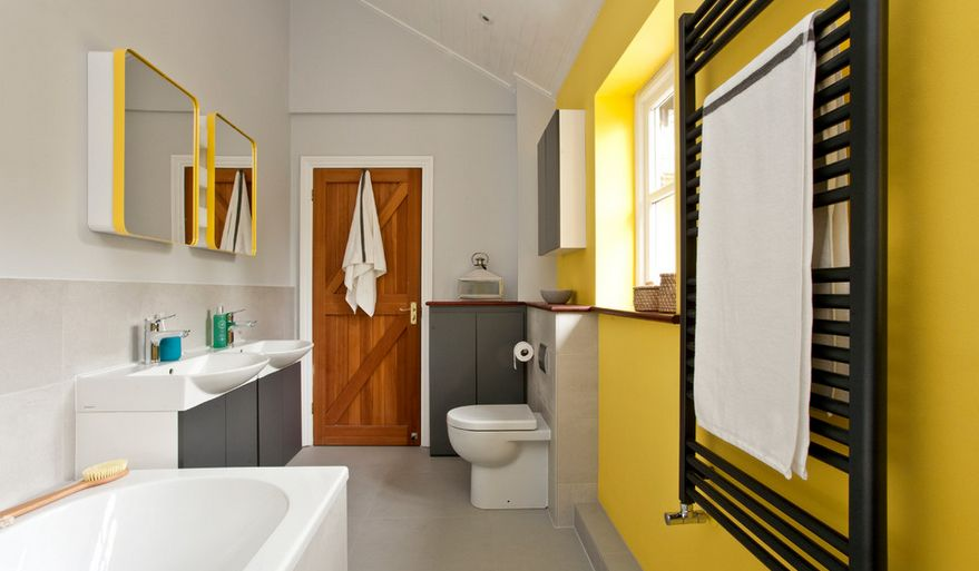 Yellow bathroom wall decor