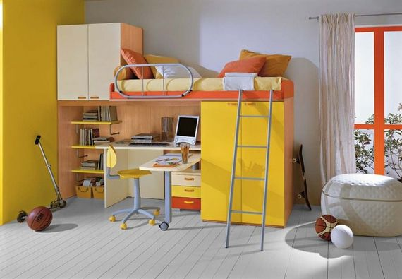 Yellow loft bed furniture for little one