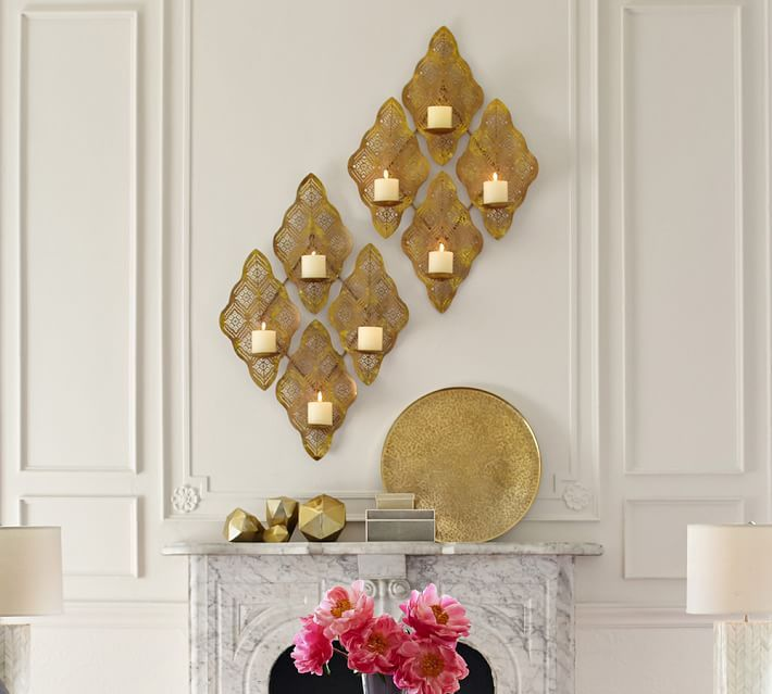 Large Gold wall Candle Sconce Mirror Spiegels Huis boho Natural Chic Home Decor Indian Brass