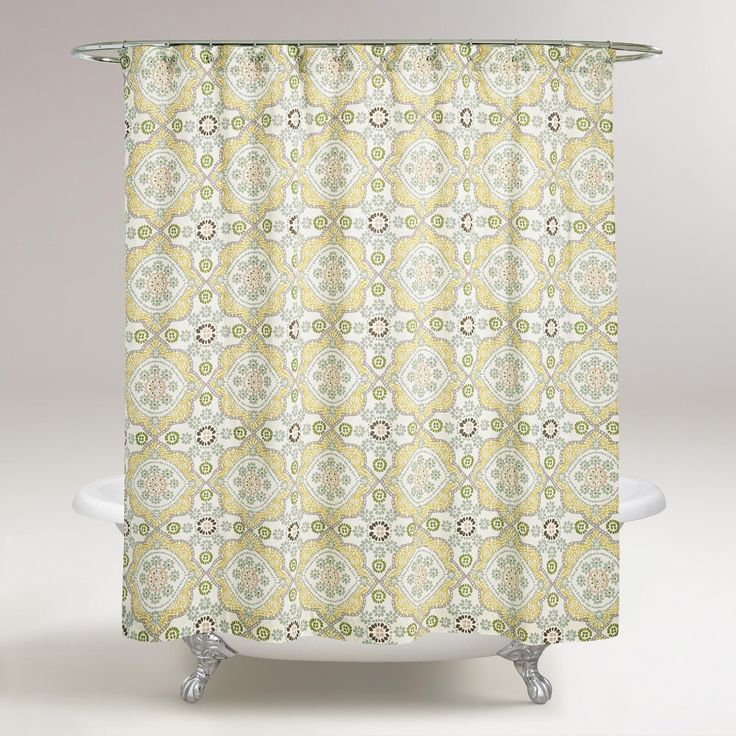 intricate patterned shower curtain