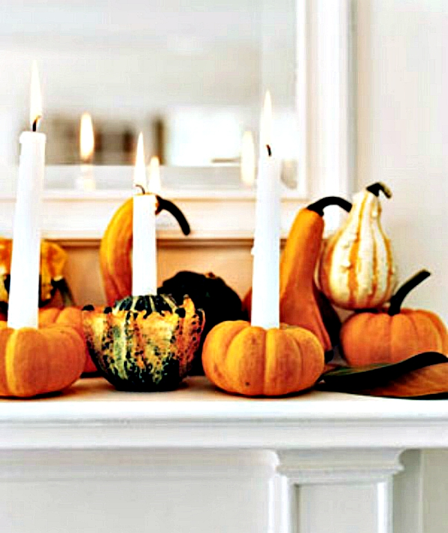 mantle pumpkin votives