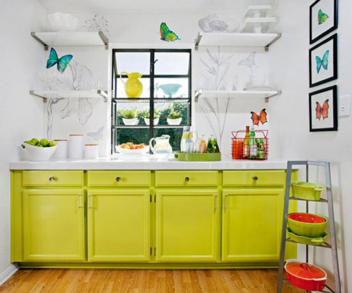 neon green cabinets