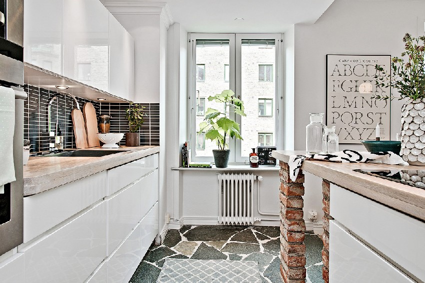 one-room Scandinavian apartment kitchen interior