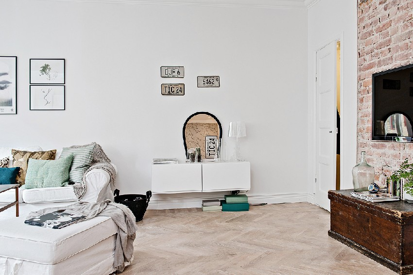 one-room Scandinavian apartment vanity with mirror