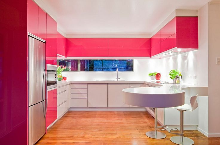 pink on top cabinets
