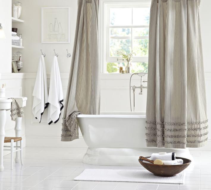 ruffled ticking shower curtain