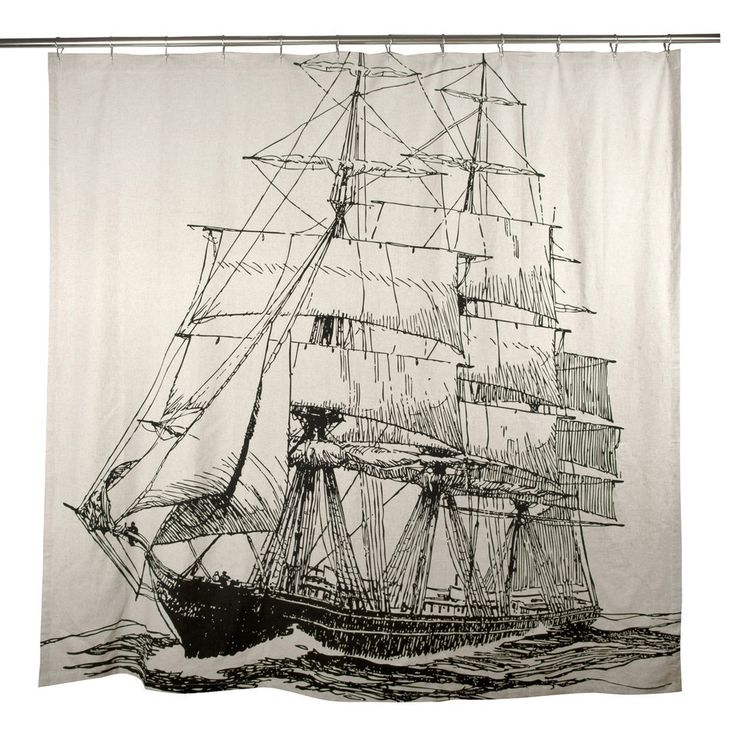Sketched Ship Shower Curtain