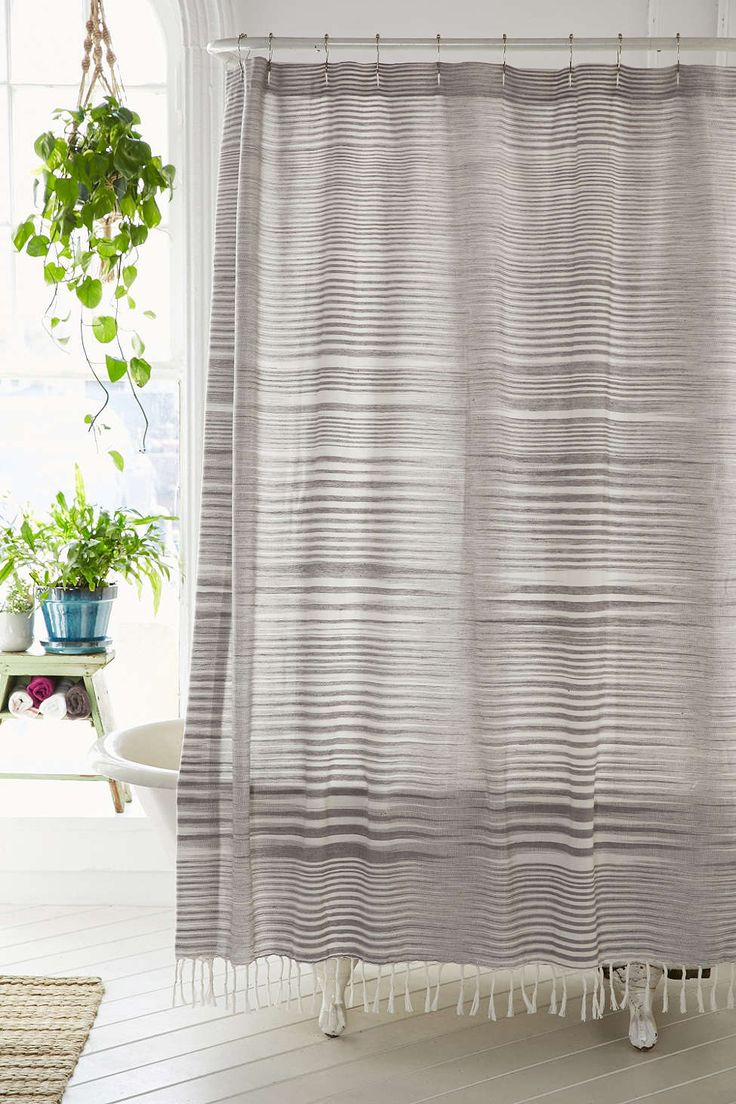 Striped Linen Shower Curtain