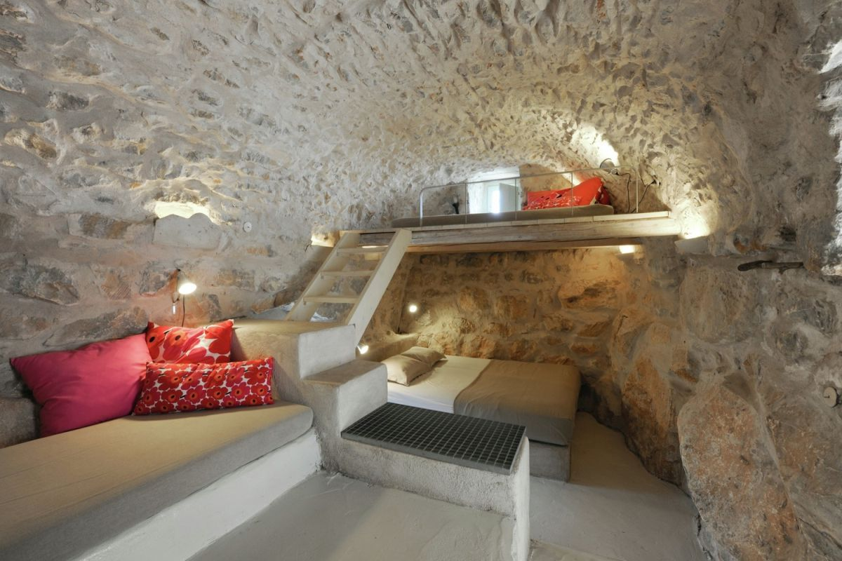 tower holiday house in Greece sleeping nook