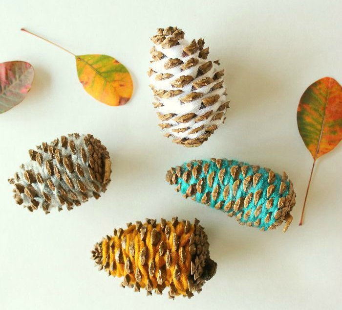 wrapped pinecones
