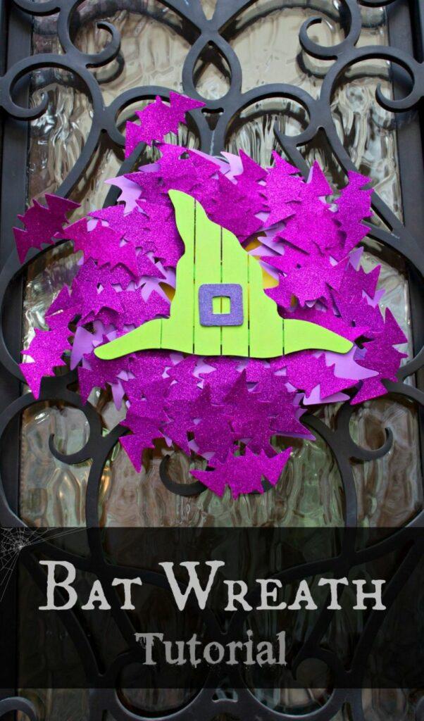 A glittery bat wreath