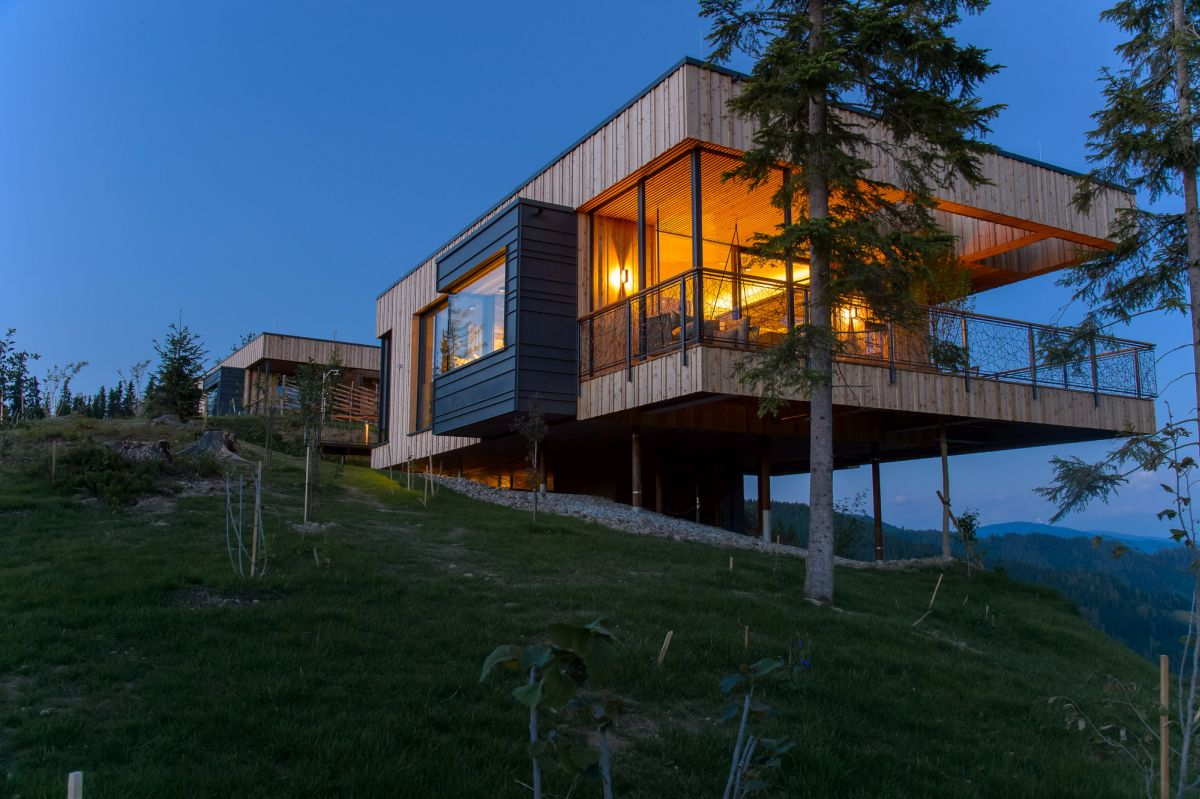 15 hillside homes that know how to embrace the landscape for Chalet homes