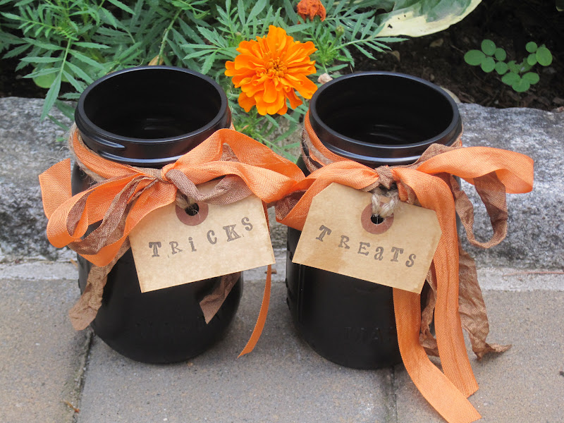 Black Spray-painted Mason jars
