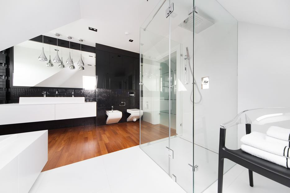 Black and white bathroom with glass shower