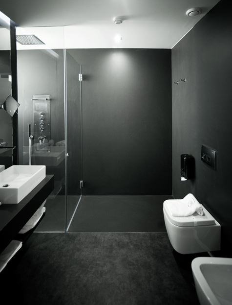 Black contemporary bathroom with walk in shower
