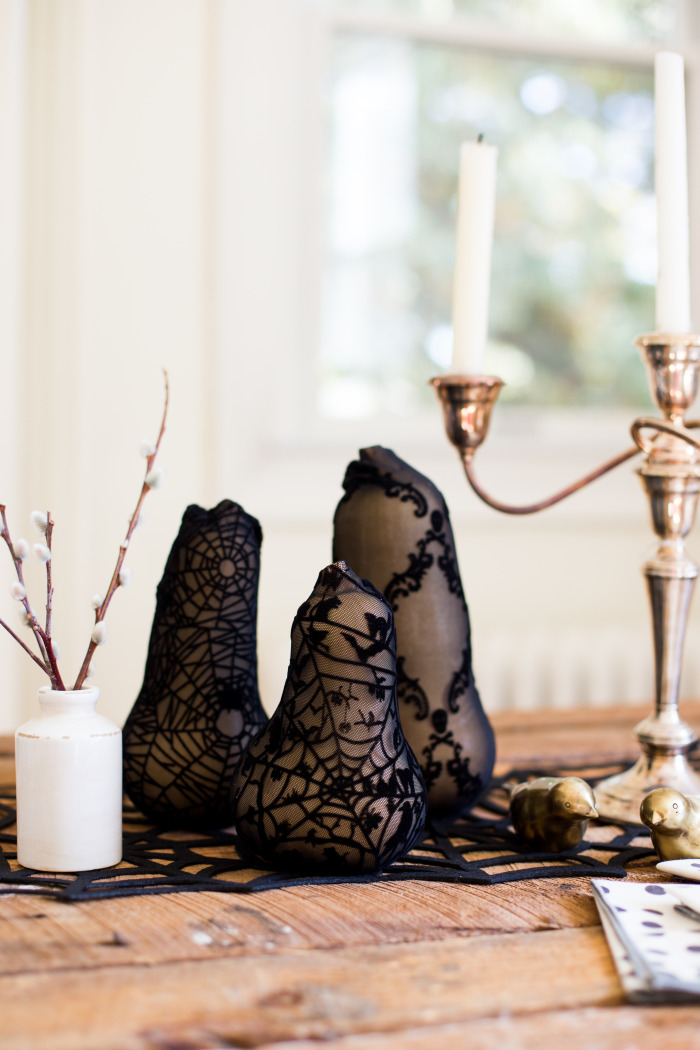 Black lace fruit decor