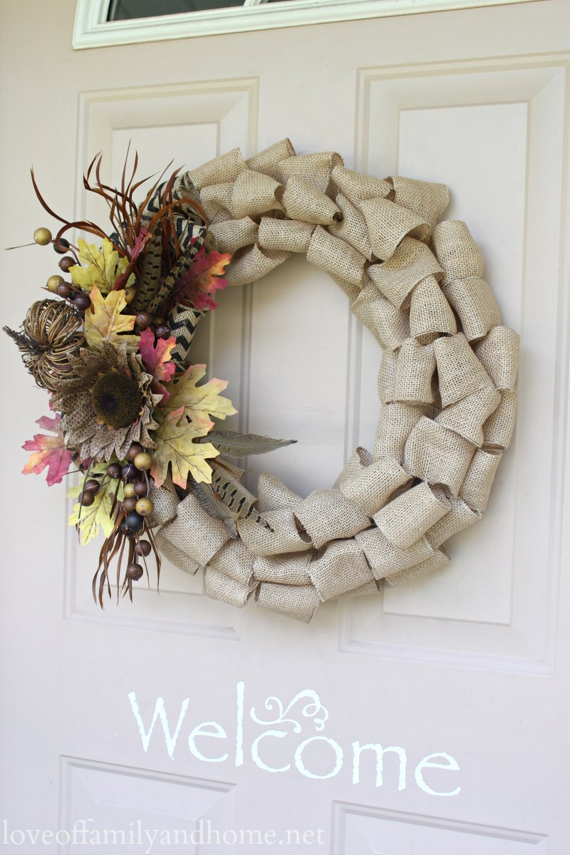 Burlap fall wreath on front door