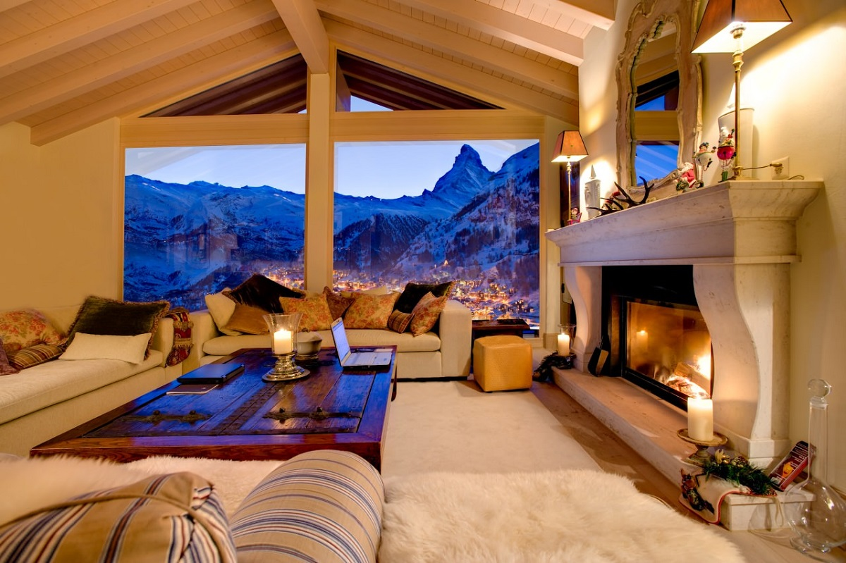 Chalet Grace Fireplace - Zermatt, Switzerland