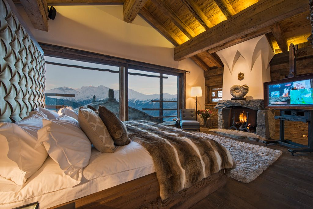 Chalet Trois Couronnes Bedroom Fireplace  Verbier, Switzerland Part 89