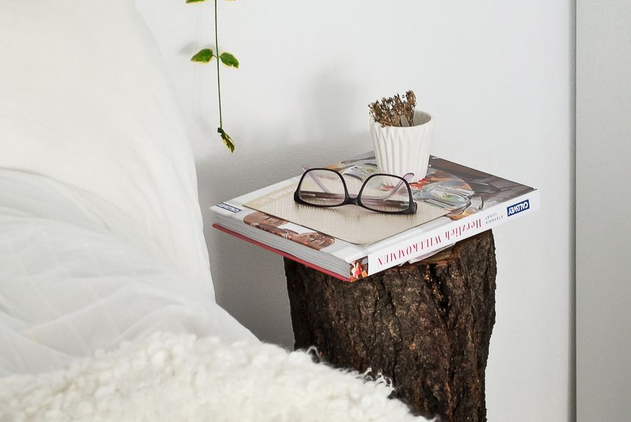 Closer look to tree trunk night stand