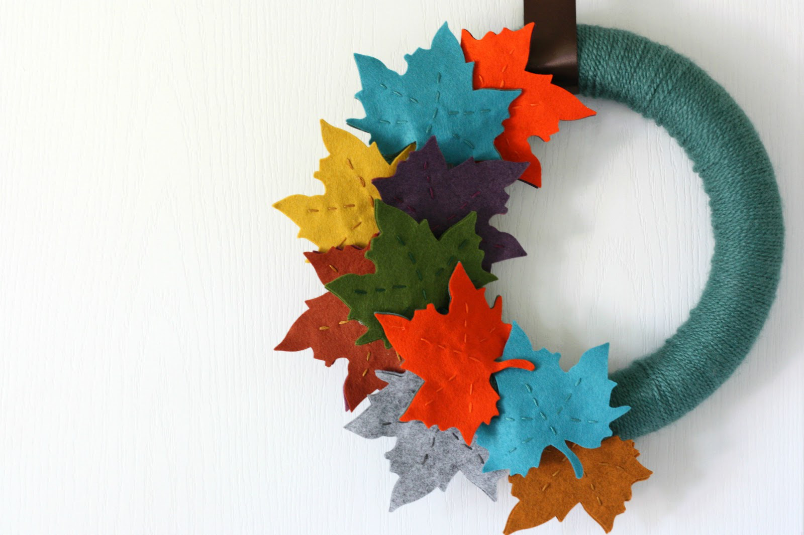 Colorful felt leaves for a Fall wreath