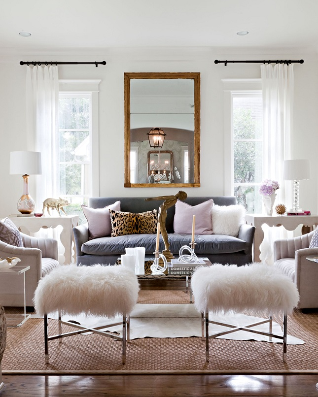 Cool living room design with sheepskin stools