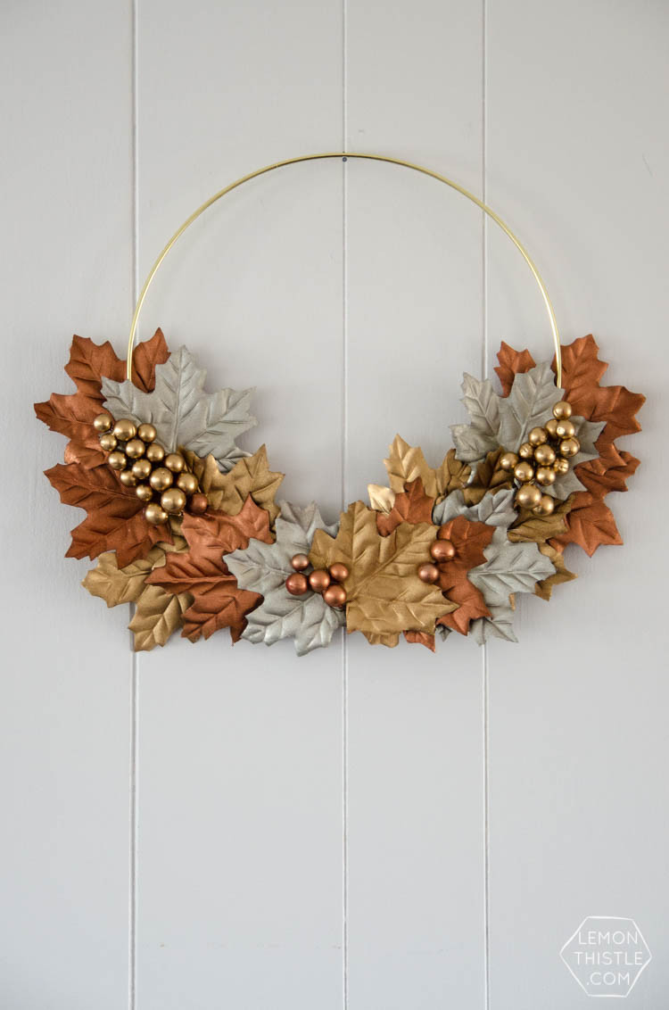 Create a wreath with some fake leaves