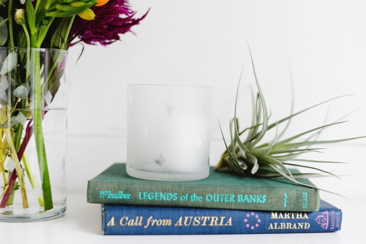 DIY Etched Glass Vase Closer