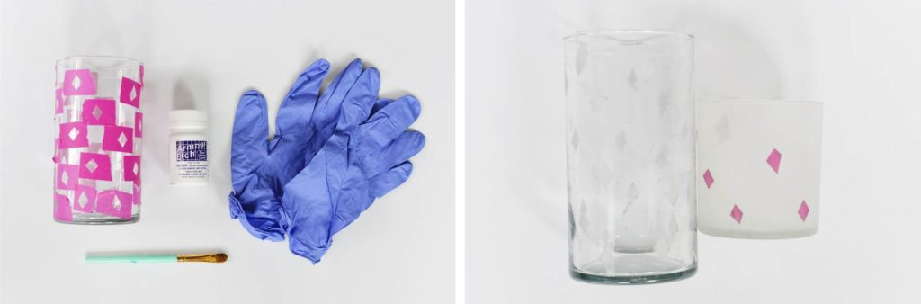 DIY Etched Glass Vase Instructions Second Step