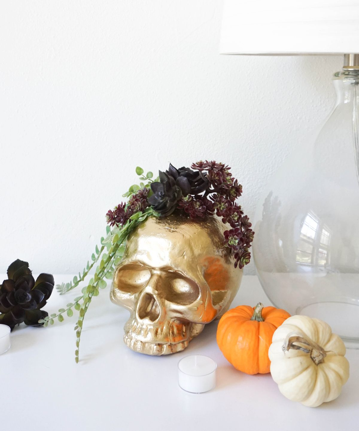DIY Gilded Gold Skull Vase