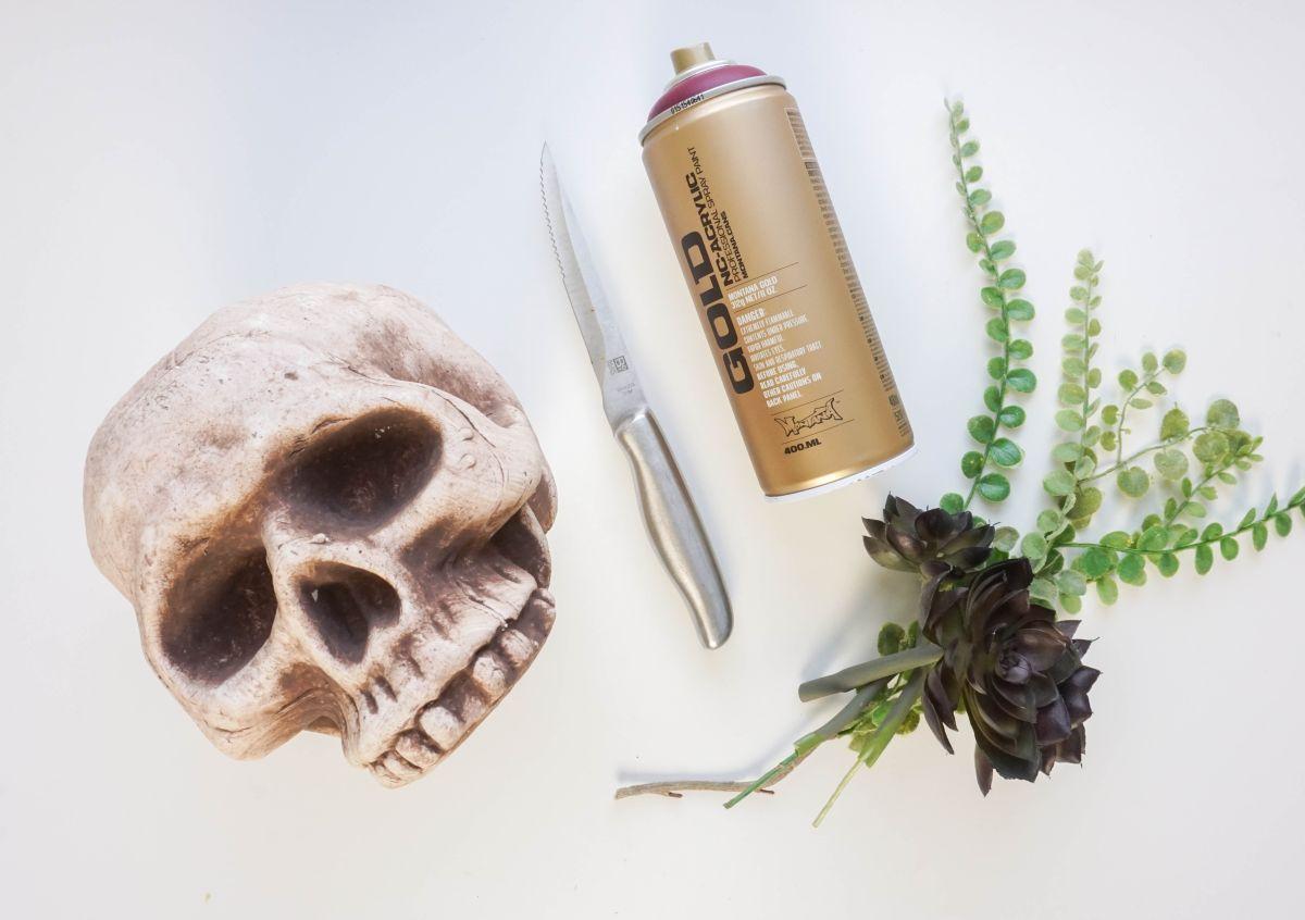 DIY Gilded Skull Vase Materials