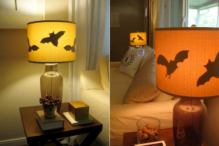 DIY lampshade with paper bats