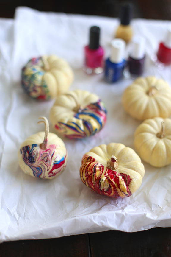 DIY nail polish pumpkins
