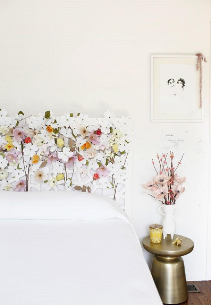 DIY paper floral headboard