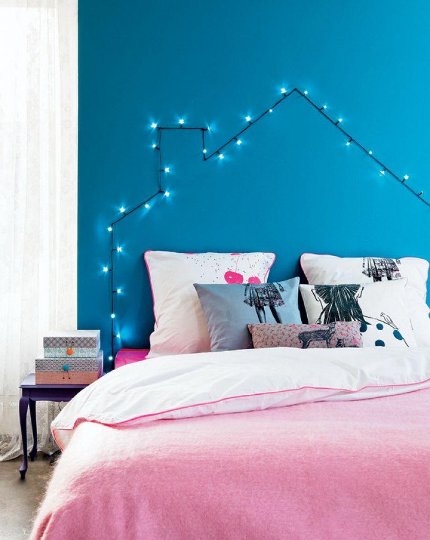 DIY string lights headboard